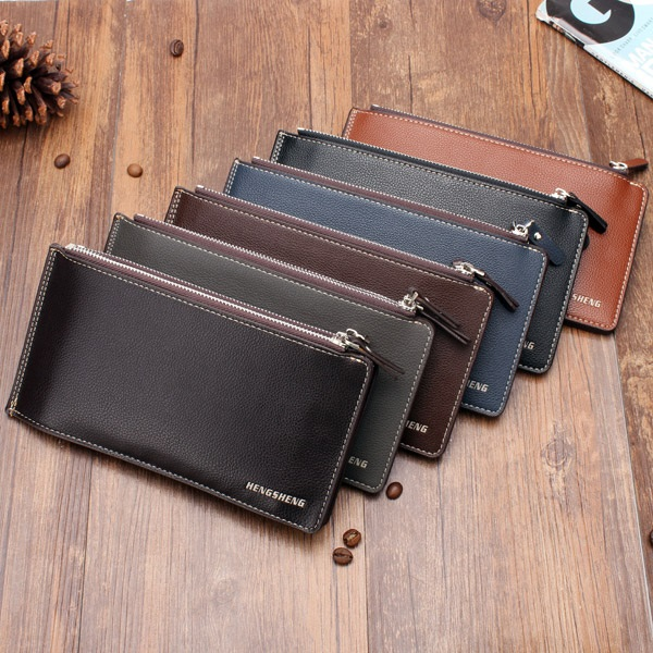 134f1ca7b2fd PU Leather Double Zippers Multi-Card Holder Wallet For Men - New ...