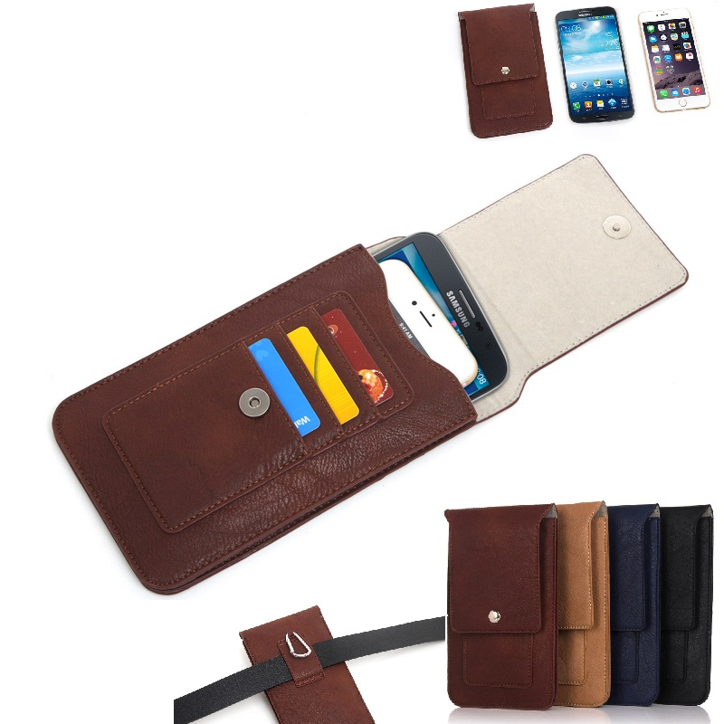 8d93599b0b83 Universal Leather Waist Phone Bag Phone Case Wallet Pouch For Phone Under  6.3 inch