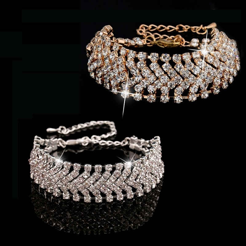 Crystal Rhinestone Wide Chain Bangle Bracelet Women Jewelry